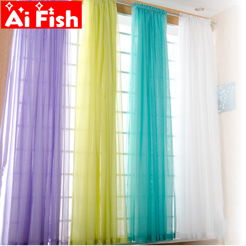 Curtains Drape-Panel Window-Screening Sheer Tulle Living-Room American-Style White Solid-Door title=