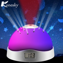 Konesky Colourful Star sky Projection Lamp Night Light Display Time Baby lamps Magic Clock Light Children Gift(China)