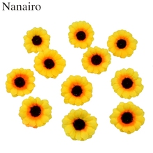 10pcs 4cm Mini Silk Sunflower Artificial Flower Head For Wedding Box Decoration Headmade Scrapbooking Accessories Fake flowers(China)