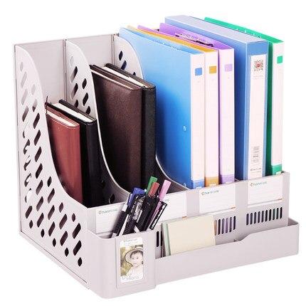 Office Desk File Organizer Document Holder A4 Filing Box Multifunction Plastic File Folder Organizer<br>
