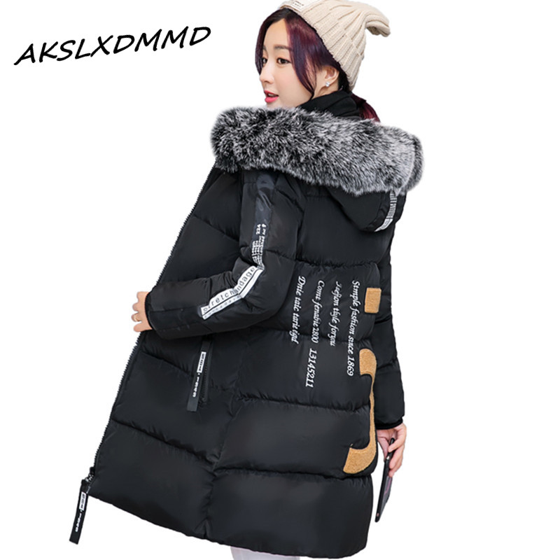 Large Size New Coats &amp; Jackets 2016 Parka Hooded Winter Jacket Back Print Fur Collar Winter Coat Zipper Womens Jacket LH478Îäåæäà è àêñåññóàðû<br><br>