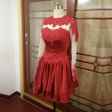 ZGS240 Actual Photos Real Sample Red Evening Gowns Short China Cheap Luxury Lace Short Black Prom Dresses Long Sleeves 2016