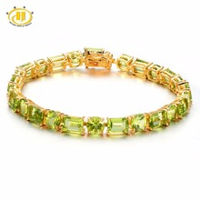 Hutang Natural Gemstone Peridot Solid 925 Sterling Silver Bracelet Fine Jewelry For Women's Gift 7 inches(China)