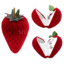 Cute Red Strawberry Velvet Ring Box Earring Ear Studs Ring Jewelry Gift Case Wedding Party Favor