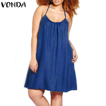 Buy VONDA Women Sexy Mini A-line Dress 2018 Summer Casual Sleeveless Halter Neck Spaghetti Strap Backless Beach Vestidos Plus Size