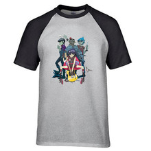 t shirt Men's Gorillaz English Virtual Band Cotton t shirt raglan style fashion summer gift for boy mans(China)