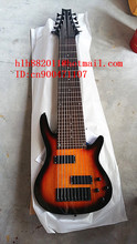 10 strinig electric bass guitar in sunburst with basswood body and black hardware  with hardcase F-2119