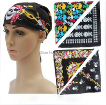 100% Cotton Peace Smile Skull Bandana Headwear/Hair Bands Scarf Neck Wristband Wrap Head Tie Band 12Pcs/Lot  Free Shipping