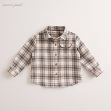 marc janie Autumn Infant Baby Toddler Boys' Denim Checks Long Sleeve Shirt Cotton Tops Baby Tops Baby Shirts Boys Blouse 70172