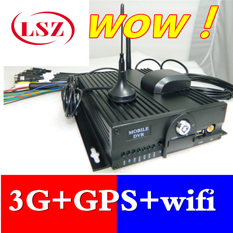 New 4 way 3G WiFi double SD card car video recorder GPS real-time positioning vehicle monitoring host MDVR direct sales