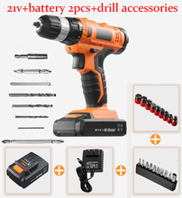 21V Electric Screwdrive Power Tools Mini Electric Drill Cordless Drill Hand Tools Bit Lithium Battery*2+accessories