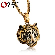 OPK Punk Tiger Pendant Necklaces For Men Stainless Steel Box Link Chain 3 Colors Personality Jewelry GX1184