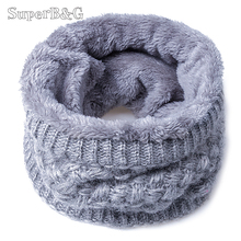 2017 New Fashion Women Scarf Unisex Winter Knitted Scarves Plus Velvet Cotton Neck Warmer Woman Crochet Ring Men Loop Scarf