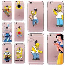 New Homer Case for iphone 6 6s 5 5s SE 7 8 plus Snow White Stitch Cheap Cover Soft TPU Silicone Minions Fundas Transparent Coque(China)