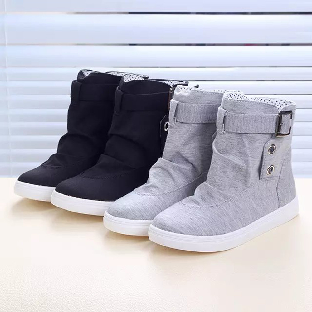 New Arrival 2017 Fashion Spring Autumn Ankle Boots Solid Buckle Lace up Canvas Women Boots High Top Shoes Woman Ulrica<br><br>Aliexpress