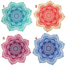 Outdoor Round Lotus Flower Mandala Tapestry Beach Towel Boho Throw Tablecloth Hanging Yoga Mat 150x150cm shop BB55