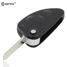KEYYOU 3 Buttons Uncut SIP22 Blade Remote Car Key Case Shell Key Combo Flip Fob Car Key Shell for Alfa Romeo 147 156 166 GT