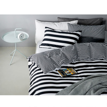 100% Cotton High Quality Duvet Cover Set Without Comforters 4 PCS Bedding Sets Brief Home Reactive Printing White Black Stripe
