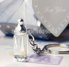 Wedding favors Choice Crystal Collection Baby Bottle Crystal Keychain Favors Free Shipping 10pcs(China)