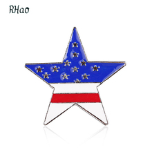 RHao 2017 New Sale men boys Stars brooch Blue red white color five point stars silver brooches broches for women kids christmas