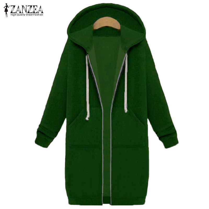 Oversized 2017 Autumn Women's Casual Long Hoodies Sweatshirt, Coat, Pockets, Zip Up, Outerwear Hooded Jacket 21