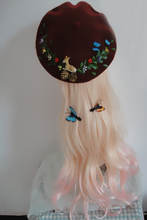 High Fashion Lolita Cute Sweet Christmas Tree Pattern Wool Beret Hat Deer Butterfly Painter Hats Vintage Handmade