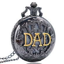 Regalo para el padre Black Hollow DAD Design Quartz Pocket Watch with Necklace Chain Gift for Father Dad Fob Watches(China)