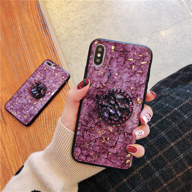 Green emerald marble pattern diamond extension bracket shiny silicone cover case for iphone MAX XS XR 6 S 7 8 plus X phone cases (3)
