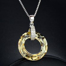 2 colors 925 Sterling silver Jewelry 2cm*cmm yellow purple crystal circle Necklace Korea Pendant Women girlfriend