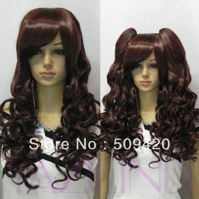 Free Shipping&gt;&gt;&gt;new fashion long wine red curly wavy women anime party cosplay wig synthetic<br><br>Aliexpress