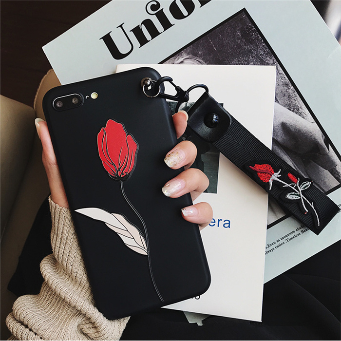 Retro 3D Rose embroidery Wrist strap phone cases for iphone 7 7plus 8 8plus Flower relief silicon Case for iphone 6 6s 6Plus 1