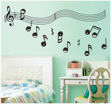 Music Theme Creative Romantic Home Decoration Wall Stickers Musical Note Green Wallpaper Children Bedroom Music Room Wall Decals