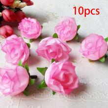 Pretty Charming 10 Pieces Lovely Cute Artificial Rose Flower Heads Wedding Bridal Bouquet Home Decor 11 Colors(China)