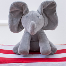 30cm Peek a boo Elephant Plush Toy Electronic Flappy Elephant Play Hide And Seek Baby Kids Soft Doll Birthday Gift For Children(China)