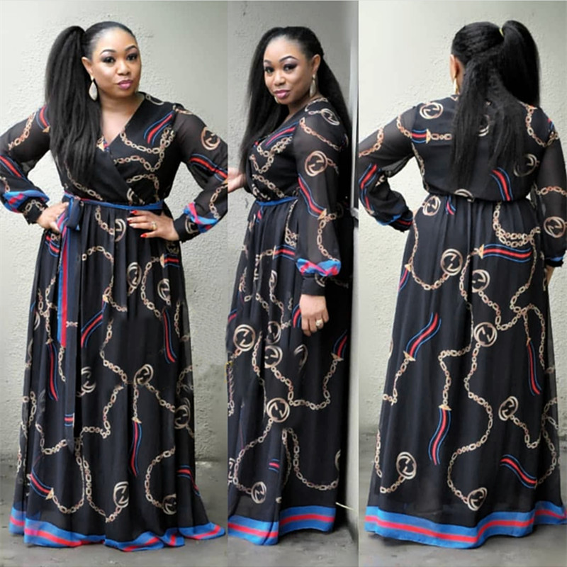 african dresses for women african clothes africa dress print Chiffon Dashiki ladies clothing ankara plus size africa women dress 3_