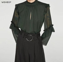 WISHBOP 2017 Woman Green blouse with elastic high collar long sleeves ruffles on shoulders and sleeves Chiffon tops