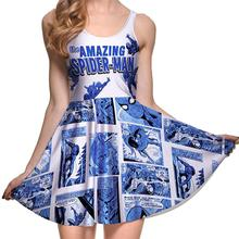 Cartoon Design Sexy Women Tennis Sports Pleated Dress Vogue Slim Elastic Blue White Lady Skater Dresses Party Sports Dress S-4XL