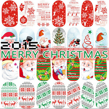 1 X Christmas Snowflake and Santa Claus Luminous Glow Full Wraps Water Transfers 3D Decals Foil Decorations Tips