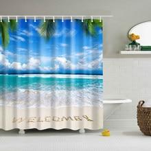 In Stock Beach Shower Curtain Palm Tree Summer Pattern Fabric Design 3d  Bathroom Curtain Waterproof Blue Green