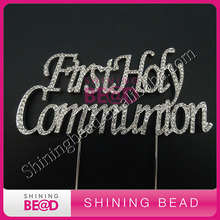 20pcs/lot,First Holy Communion crystal rhinestone cake topper for cake decoration,Communion Clear Cake Topper