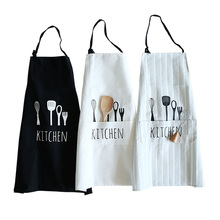 Nordic Cotton Kitchen Aprons Solid Color Knife and Fork Pattern Household Cooking Man Aprons Delantal Kitchen Companion