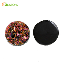 "8SEASONS Druzy Resin Embellishment Findings Jewelry Making Round Multicolor AB Color Uneven Surface 12mm(4/8"") Dia,50PCs"