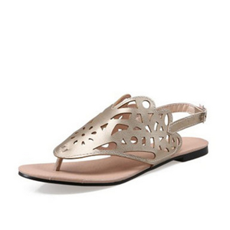 High quality Larger Size US17 16 15 Cut-outs Casual Buckle Strap Western Women Sandals On Flat Summer Beach Shoes Open Toe thong<br><br>Aliexpress