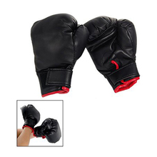 SZ-LGFM-Black Faux Leather Sponge Pad Boxing Gloves Pair For Child kids Gift Play