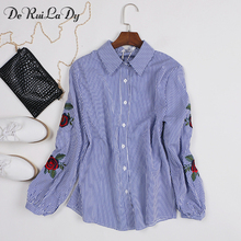 DeRuiLaDy Women Long Sleeve Blouse Floral Embroidery Striped Womens Shirt Fashion White Casual Blouses Camisas Femininas Tops