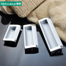 Meticulous Hidden cabinet pulls furniture concealed door handles aluminum recessed drawer knobs flush sliding cabinet handle2pcs