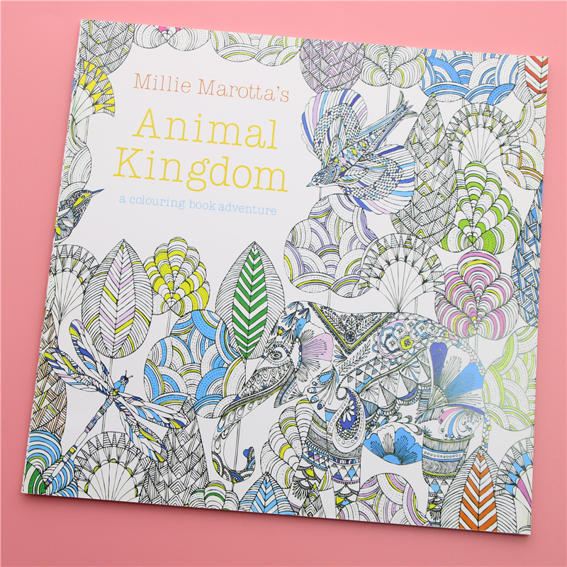 24 Pages Animal Kingdom English Edition Coloring Book For Children Adult Relieve Stress Kill Time Painting Drawing Book(China)