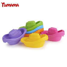Tumama 4 Pieces/Set Mini Boat Bath Toys For Children Baby Kids Colorful Bathroom Game Play Water Toy Infant Swimming Bath Toys