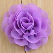 "18 color handmade diy crafts and sewing 3.5"" chiffon fabric flower for headbands,embellishments wedding party decoration"