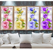 DIY 5D Diamond Embroidery Painting Rose Flower Cross Stitch Home Wall Decor Craft Christmas gift diamond picture HOT-Y102(China)